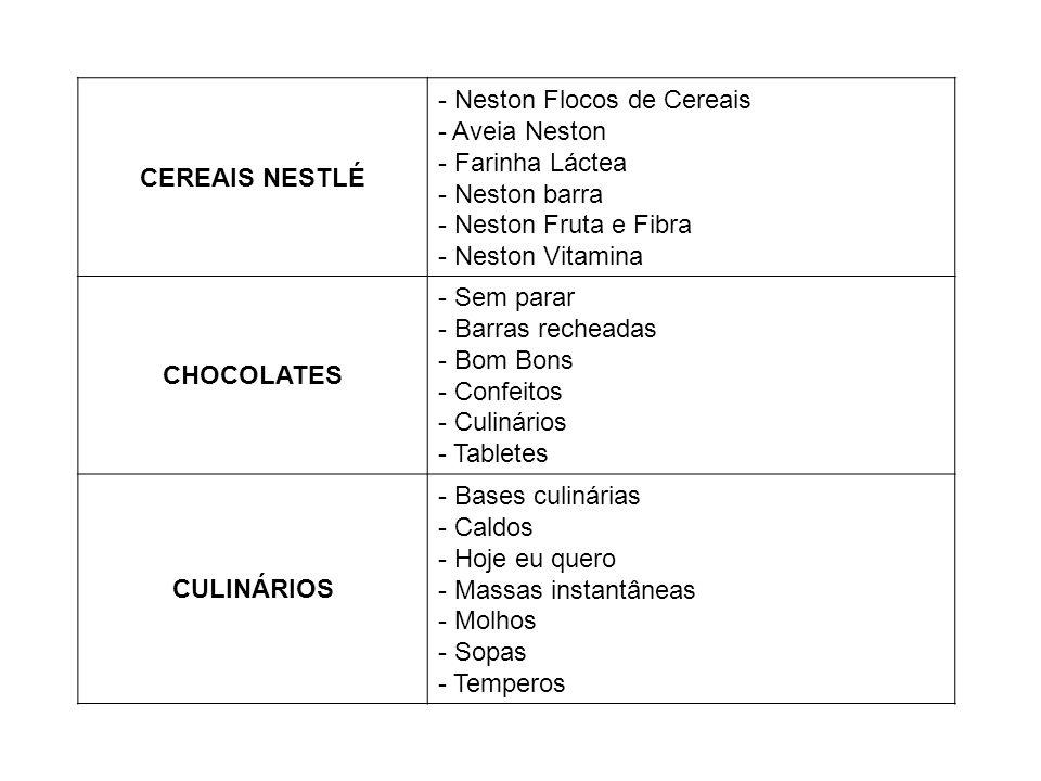 CEREAIS NESTLÉ - Neston Flocos de Cereais - Aveia Neston - Farinha Láctea - Neston barra - Neston Fruta e Fibra - Neston Vitamina CHOCOLATES - Sem par