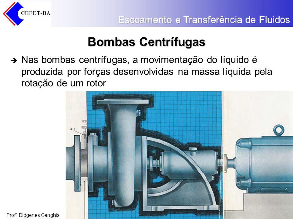 Profº Diógenes Ganghis Bombas Centrífugas Nas bombas centrífugas, a movimentação do líquido é produzida por forças desenvolvidas na massa líquida pela