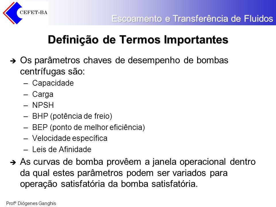 Profº Diógenes Ganghis Definição de Termos Importantes Os parâmetros chaves de desempenho de bombas centrífugas são: –Capacidade –Carga –NPSH –BHP (po