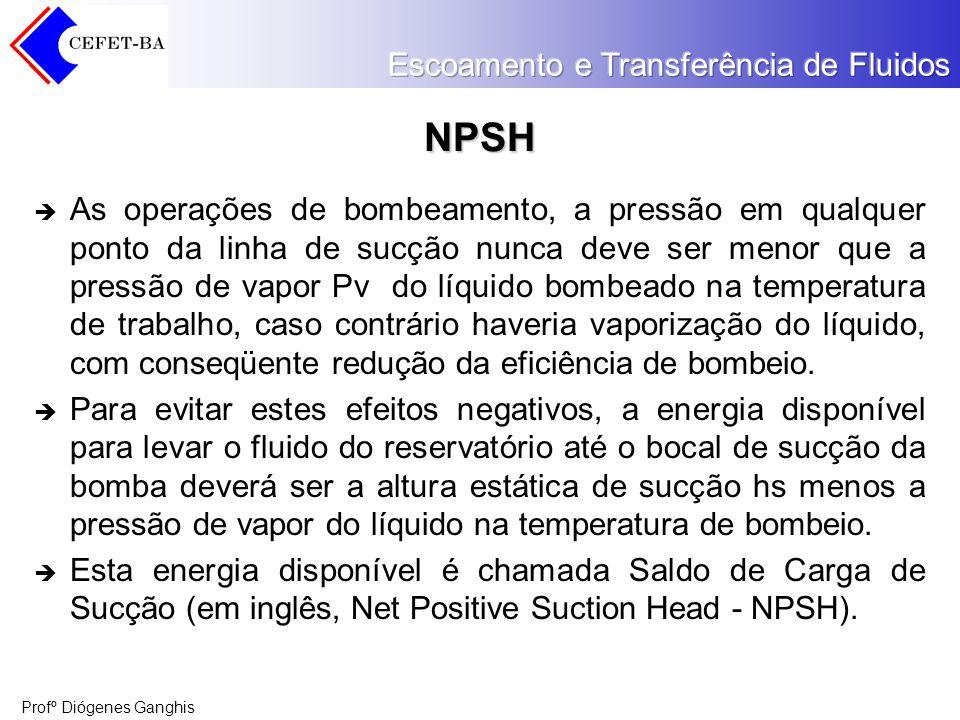 Profº Diógenes Ganghis NPSH As operações de bombeamento, a pressão em qualquer ponto da linha de sucção nunca deve ser menor que a pressão de vapor Pv