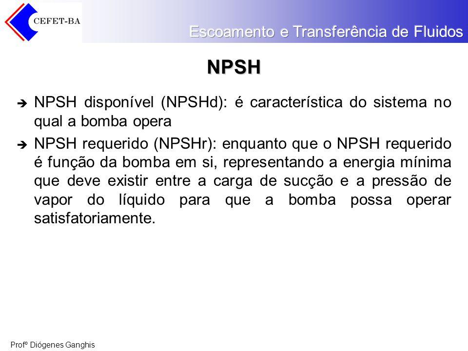 Profº Diógenes Ganghis NPSH NPSH disponível (NPSHd): é característica do sistema no qual a bomba opera NPSH requerido (NPSHr): enquanto que o NPSH req