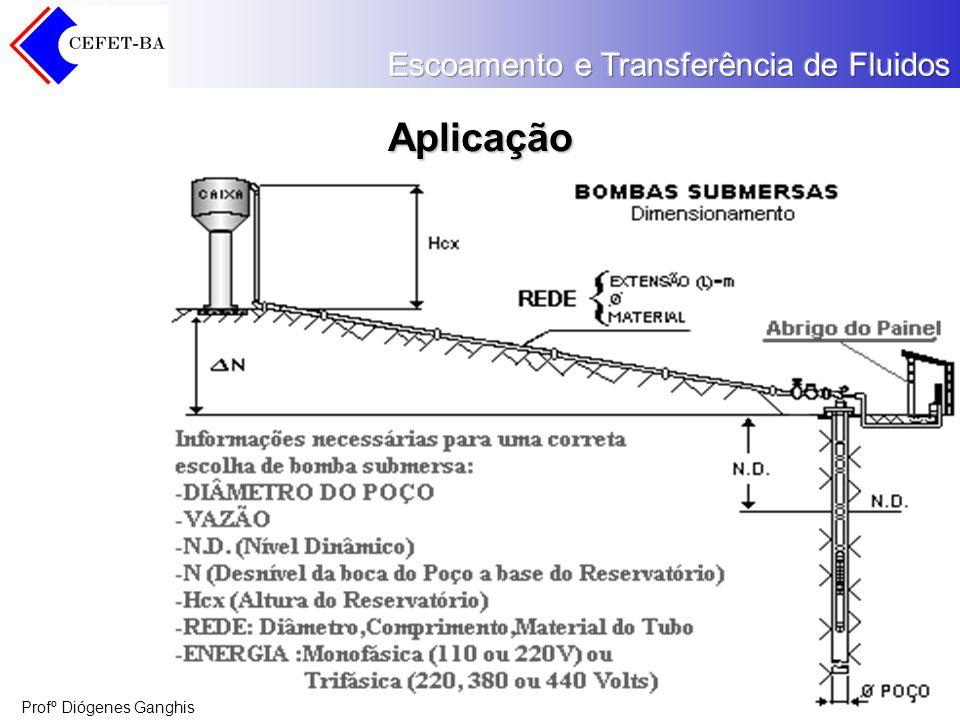 Profº Diógenes Ganghis Carga Carga de Sucção Total (HS): É a carga de pressão no reservatório de sucção (hpS) mais a carga estática de sucção (hS) mais a carga de velocidade na flange de sucção da bomba (hVS) menos a carga de fricção na linha de sucção (hfS).