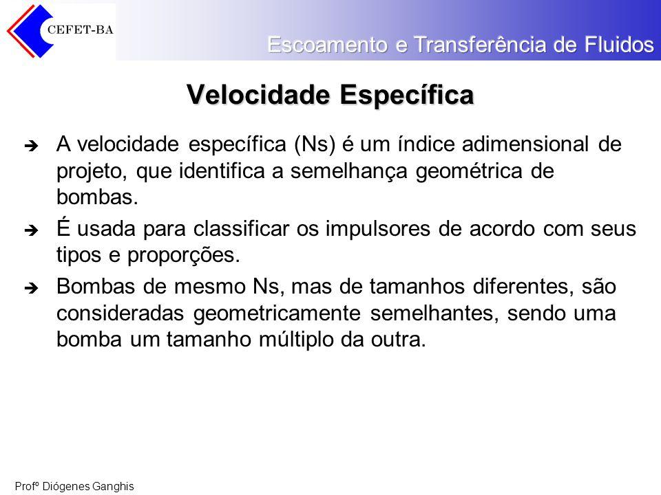Profº Diógenes Ganghis Velocidade Específica A velocidade específica (Ns) é um índice adimensional de projeto, que identifica a semelhança geométrica