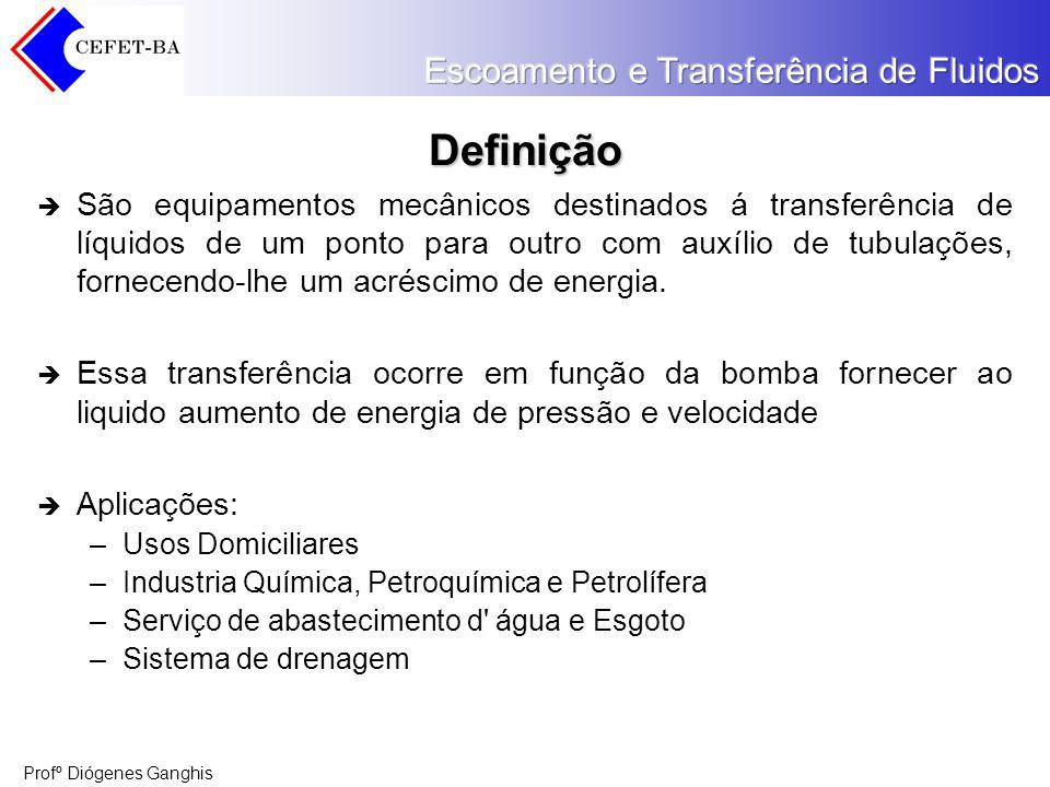 Definição São equipamentos mecânicos destinados á transferência de líquidos de um ponto para outro com auxílio de tubulações, fornecendo-lhe um acrésc