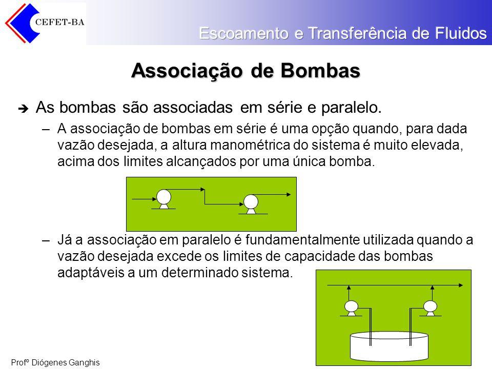 Profº Diógenes Ganghis Associação de Bombas As bombas são associadas em série e paralelo. –A associação de bombas em série é uma opção quando, para da