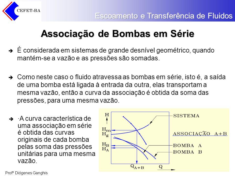 Profº Diógenes Ganghis Associação de Bombas em Série É considerada em sistemas de grande desnível geométrico, quando mantém-se a vazão e as pressões s