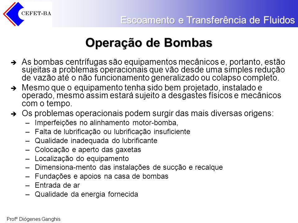 Profº Diógenes Ganghis Operação de Bombas As bombas centrífugas são equipamentos mecânicos e, portanto, estão sujeitas a problemas operacionais que vã