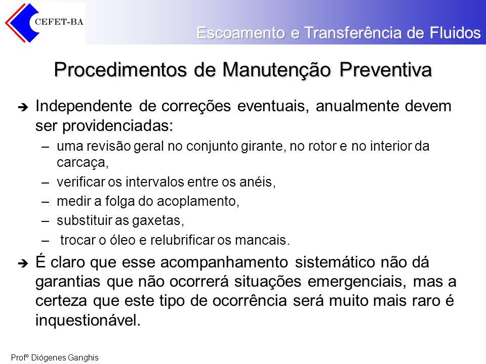 Profº Diógenes Ganghis Procedimentos de Manutenção Preventiva Independente de correções eventuais, anualmente devem ser providenciadas: –uma revisão g