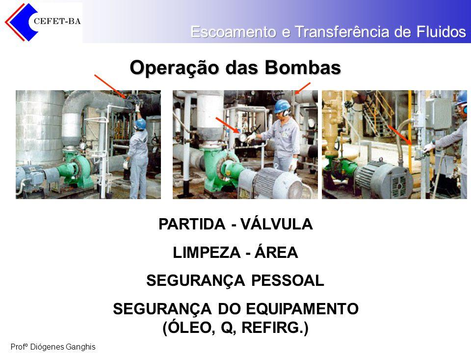 Profº Diógenes Ganghis Operação das Bombas PARTIDA - VÁLVULA LIMPEZA - ÁREA SEGURANÇA PESSOAL SEGURANÇA DO EQUIPAMENTO (ÓLEO, Q, REFIRG.)