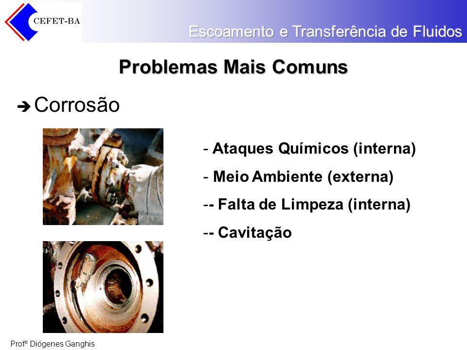 Profº Diógenes Ganghis Problemas Mais Comuns Corrosão - Ataques Químicos (interna) - Meio Ambiente (externa) -- Falta de Limpeza (interna) -- Cavitaçã