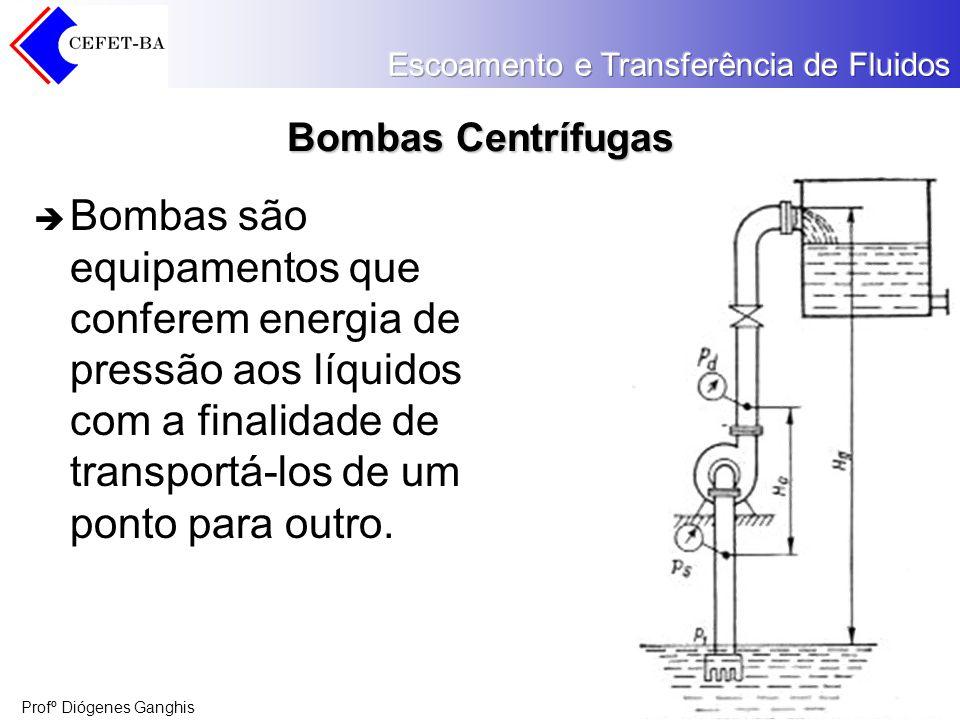Profº Diógenes Ganghis Bombas Centrífugas Nas bombas centrífugas, a movimentação do líquido é produzida por forças desenvolvidas na massa líquida pela rotação de um rotor