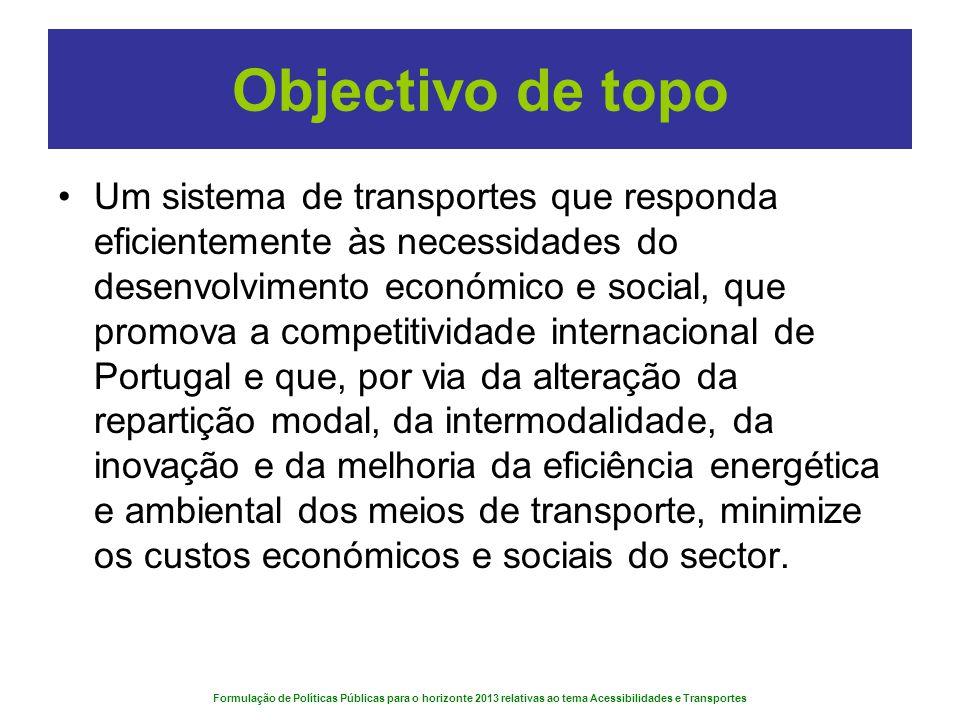 Formulação de Políticas Públicas para o horizonte 2013 relativas ao tema Acessibilidades e Transportes Objectivo de topo Um sistema de transportes que