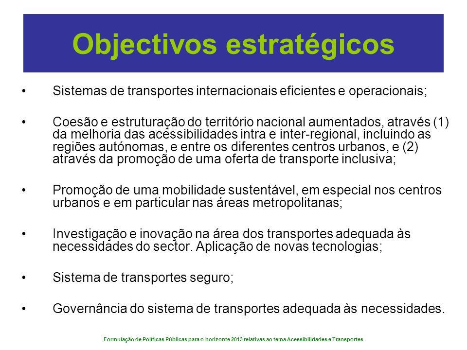 Formulação de Políticas Públicas para o horizonte 2013 relativas ao tema Acessibilidades e Transportes Objectivos estratégicos Sistemas de transportes