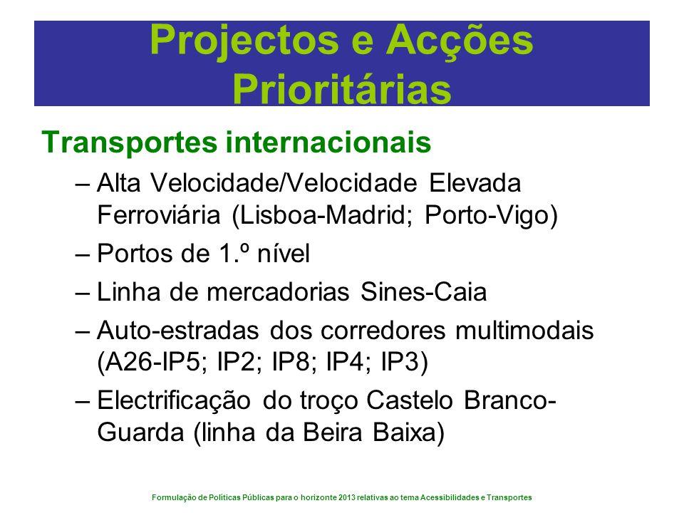 Formulação de Políticas Públicas para o horizonte 2013 relativas ao tema Acessibilidades e Transportes Projectos e Acções Prioritárias Transportes int