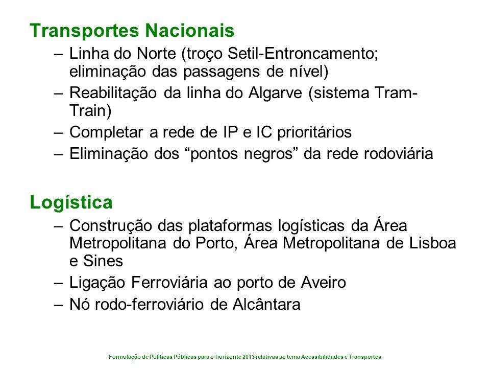 Formulação de Políticas Públicas para o horizonte 2013 relativas ao tema Acessibilidades e Transportes Transportes Nacionais –Linha do Norte (troço Se
