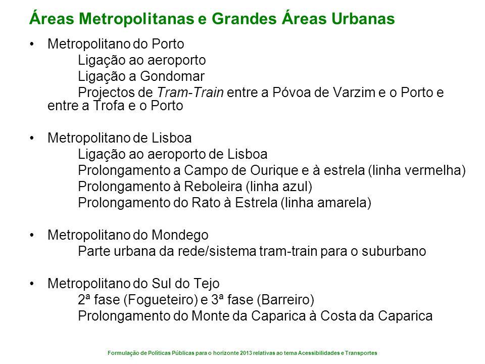 Formulação de Políticas Públicas para o horizonte 2013 relativas ao tema Acessibilidades e Transportes Áreas Metropolitanas e Grandes Áreas Urbanas Me
