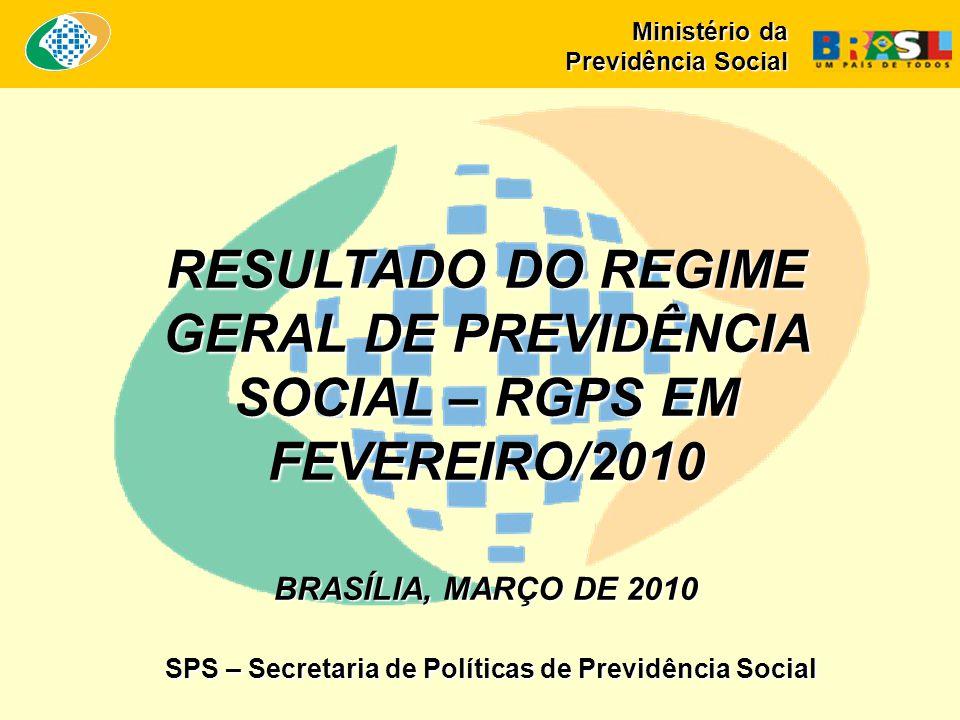 RESULTADO DO REGIME GERAL DE PREVIDÊNCIA SOCIAL – RGPS EM FEVEREIRO/2010 BRASÍLIA, MARÇO DE 2010 SPS – Secretaria de Políticas de Previdência Social Ministério da Previdência Social