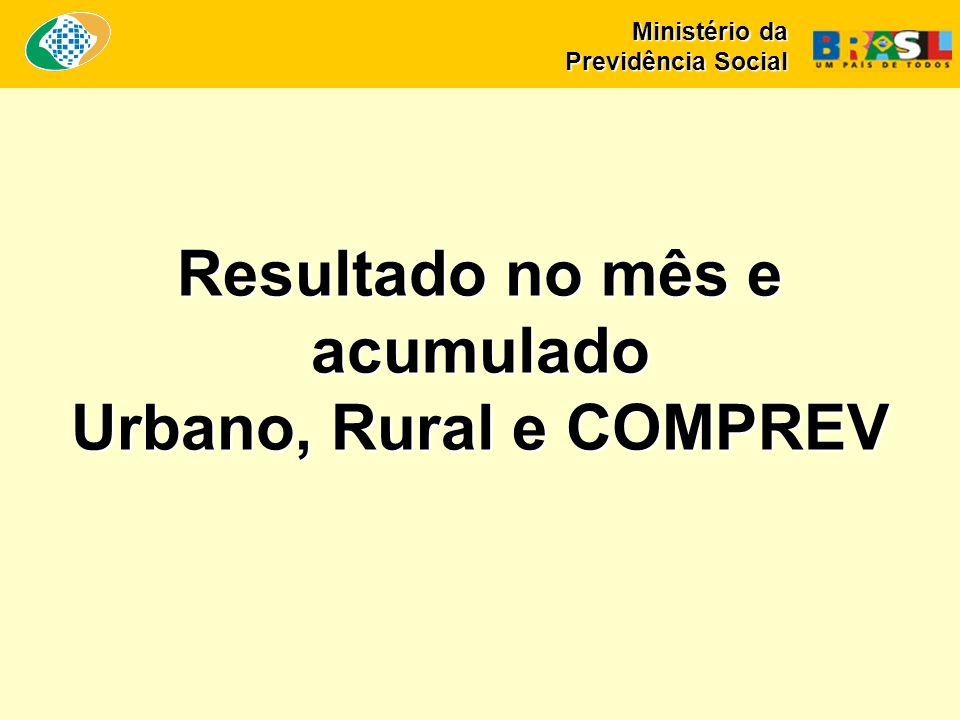 Resultado no mês e acumulado Urbano, Rural e COMPREV Ministério da Previdência Social