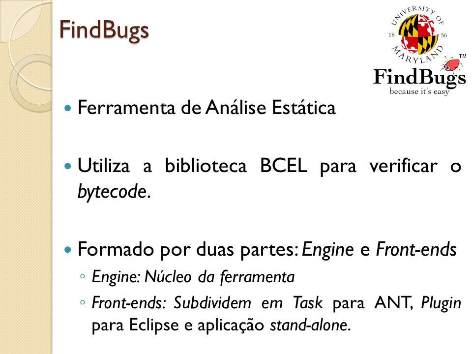 FindBugs Ferramenta de Análise Estática Utiliza a biblioteca BCEL para verificar o bytecode. Formado por duas partes: Engine e Front-ends Engine: Núcl