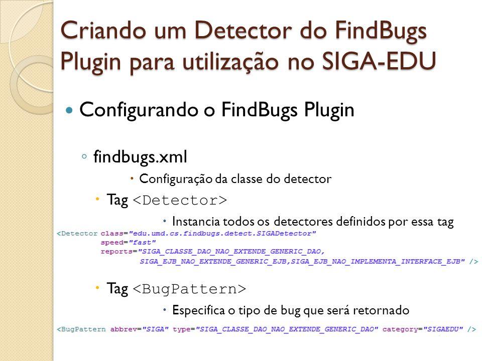 Configurando o FindBugs Plugin findbugs.xml Configuração da classe do detector Tag Instancia todos os detectores definidos por essa tag Tag Especifica
