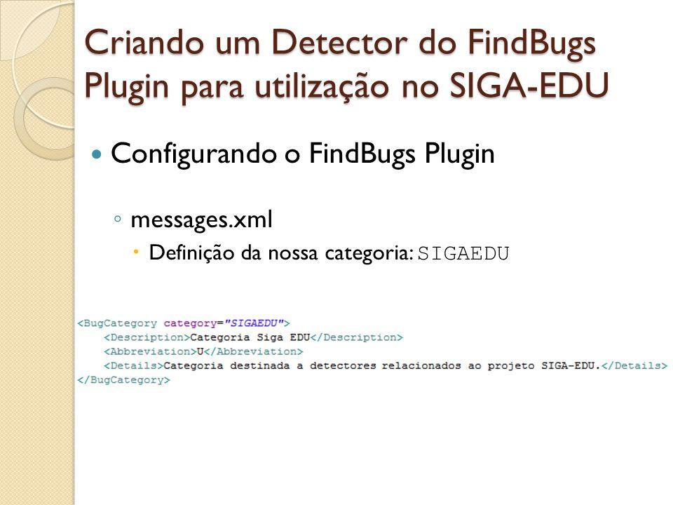 Configurando o FindBugs Plugin messages.xml Definição da nossa categoria: SIGAEDU Criando um Detector do FindBugs Plugin para utilização no SIGA-EDU