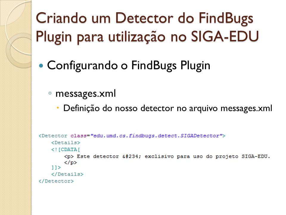 Configurando o FindBugs Plugin messages.xml Definição do nosso detector no arquivo messages.xml Criando um Detector do FindBugs Plugin para utilização