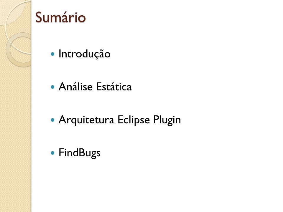 Sumário Introdução Análise Estática Arquitetura Eclipse Plugin FindBugs