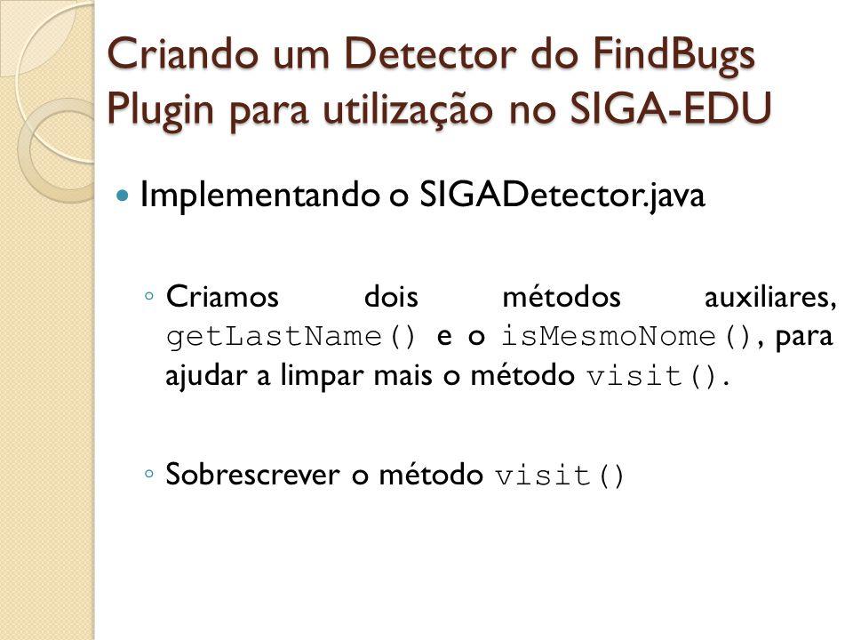 Implementando o SIGADetector.java Criamos dois métodos auxiliares, getLastName() e o isMesmoNome(), para ajudar a limpar mais o método visit(). Sobres