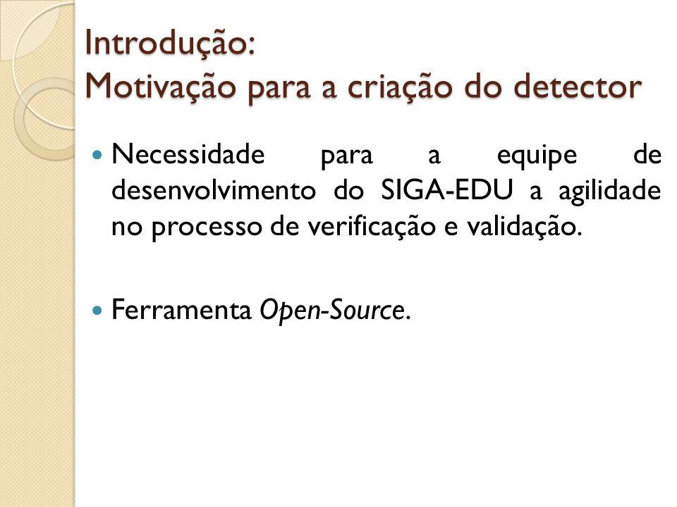 Introdução: Motivação para a criação do detector Necessidade para a equipe de desenvolvimento do SIGA-EDU a agilidade no processo de verificação e val