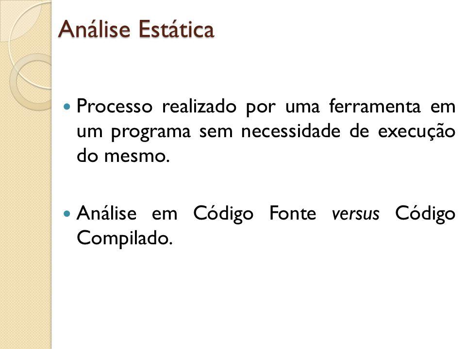 Análise Estática Processo realizado por uma ferramenta em um programa sem necessidade de execução do mesmo. Análise em Código Fonte versus Código Comp