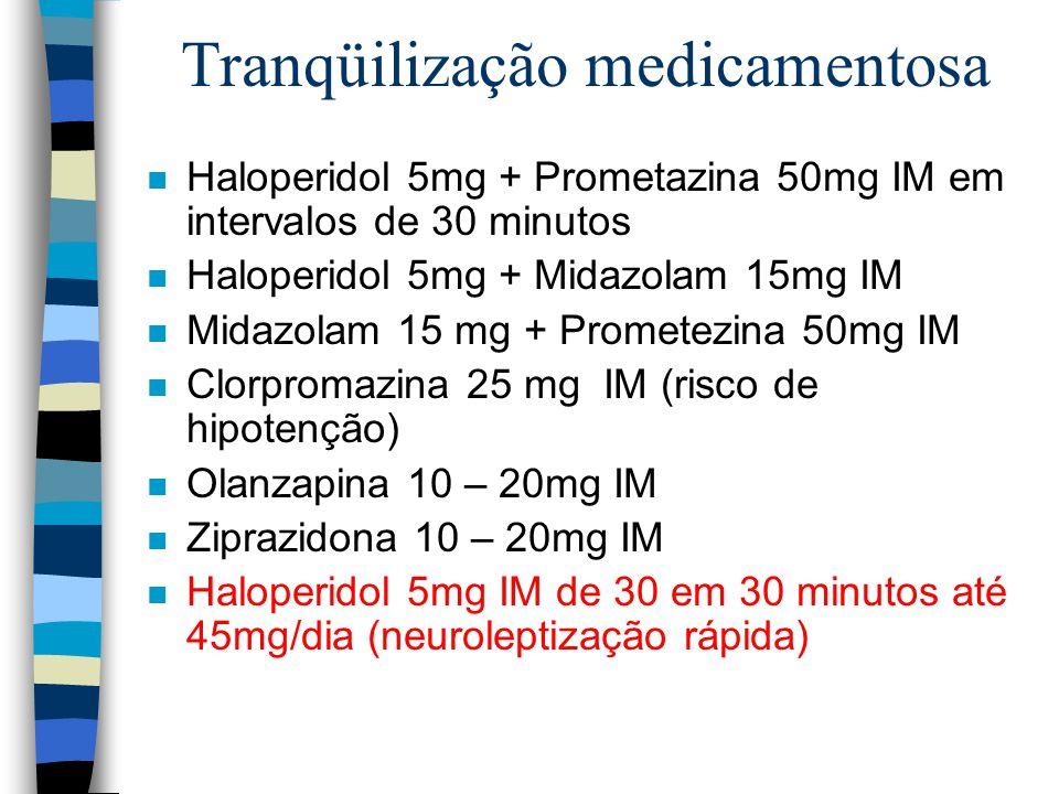 Tranqüilização medicamentosa n Haloperidol 5mg + Prometazina 50mg IM em intervalos de 30 minutos n Haloperidol 5mg + Midazolam 15mg IM n Midazolam 15