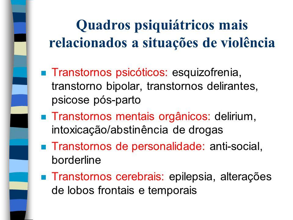Quadros psiquiátricos mais relacionados a situações de violência n Transtornos psicóticos: esquizofrenia, transtorno bipolar, transtornos delirantes,
