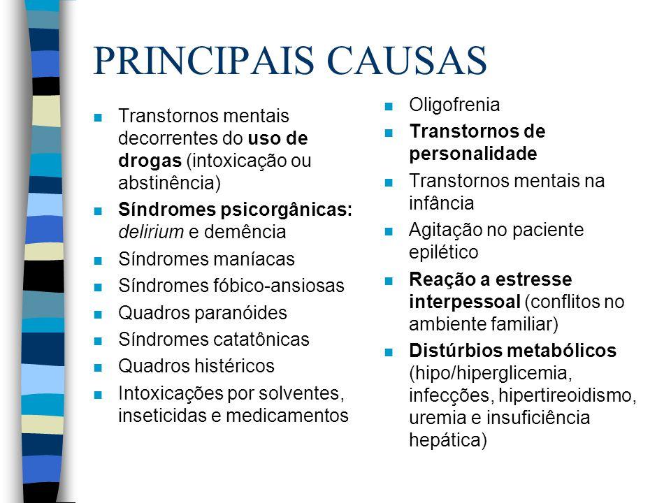 PRINCIPAIS CAUSAS n Transtornos mentais decorrentes do uso de drogas (intoxicação ou abstinência) n Síndromes psicorgânicas: delirium e demência n Sín