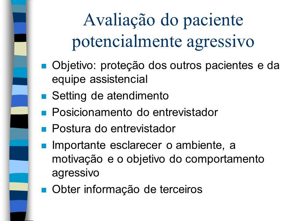Avaliação do paciente potencialmente agressivo n Objetivo: proteção dos outros pacientes e da equipe assistencial n Setting de atendimento n Posiciona