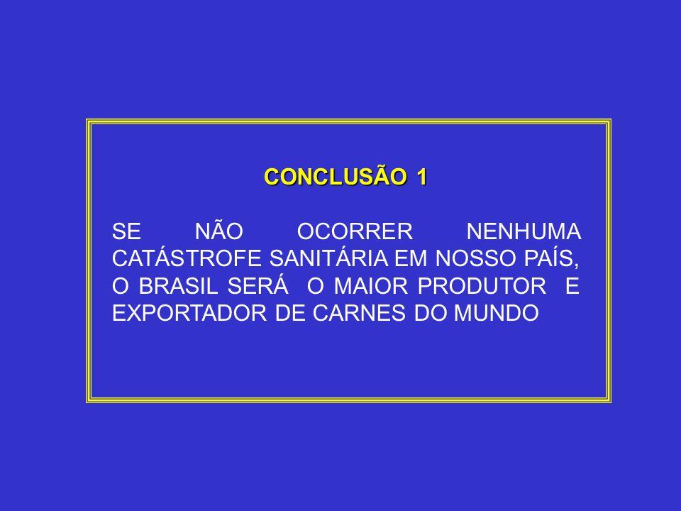 CONCLUSÃO 1 SE NÃO OCORRER NENHUMA CATÁSTROFE SANITÁRIA EM NOSSO PAÍS, O BRASIL SERÁ O MAIOR PRODUTOR E EXPORTADOR DE CARNES DO MUNDO
