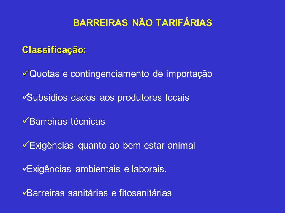 BARREIRAS NÃO TARIFÁRIAS Classificação: Quotas e contingenciamento de importação Subsídios dados aos produtores locais Barreiras técnicas Exigências q