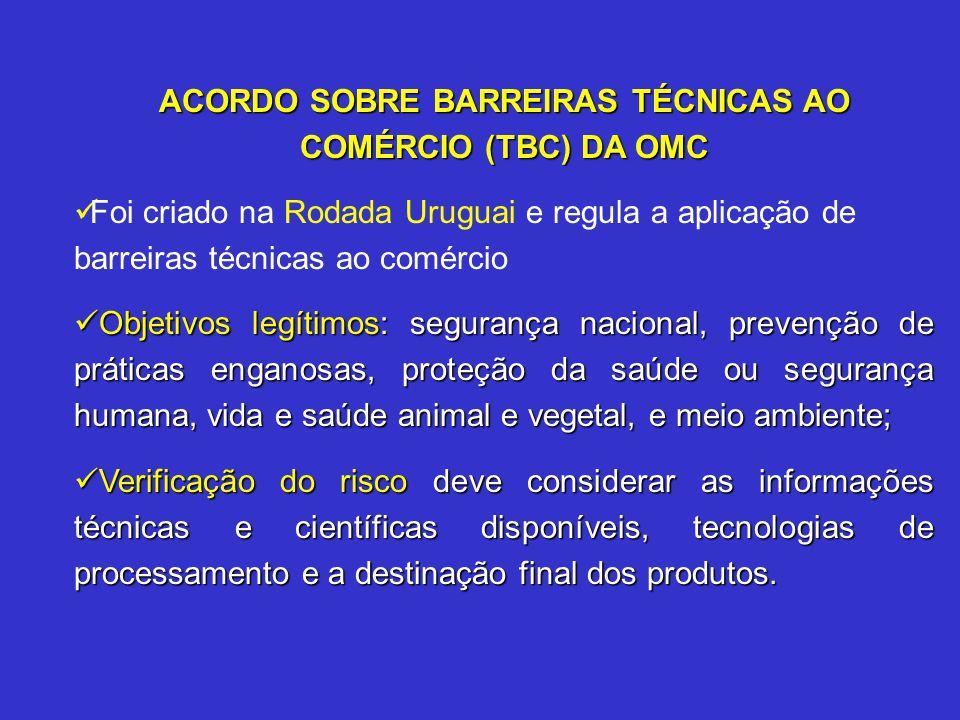 ACORDO SOBRE BARREIRAS TÉCNICAS AO COMÉRCIO (TBC) DA OMC Foi criado na Rodada Uruguai e regula a aplicação de barreiras técnicas ao comércio Objetivos