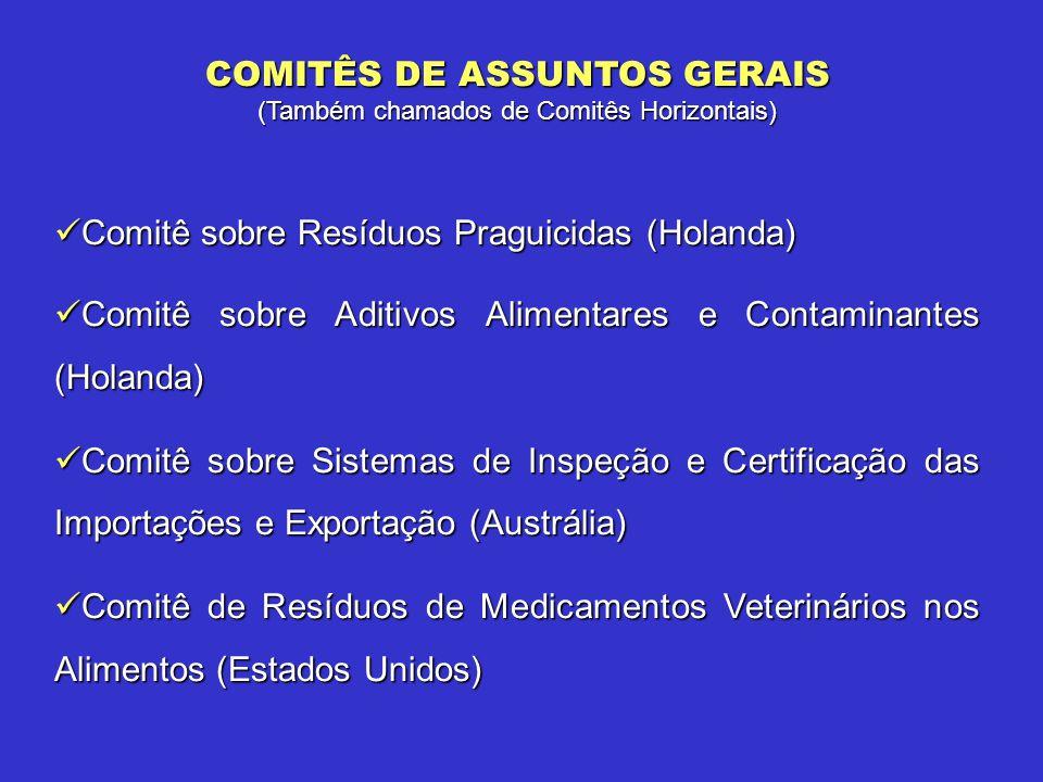 Comitê sobre Resíduos Praguicidas (Holanda) Comitê sobre Resíduos Praguicidas (Holanda) Comitê sobre Aditivos Alimentares e Contaminantes (Holanda) Co