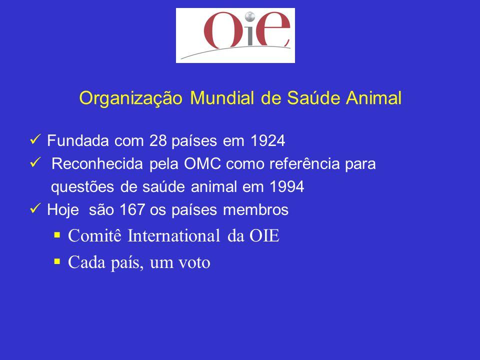 Organização Mundial de Saúde Animal Fundada com 28 países em 1924 Reconhecida pela OMC como referência para questões de saúde animal em 1994 Hoje são