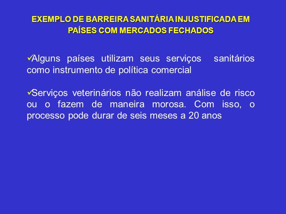 EXEMPLO DE BARREIRA SANITÁRIA INJUSTIFICADA EM PAÍSES COM MERCADOS FECHADOS Alguns países utilizam seus serviços sanitários como instrumento de políti