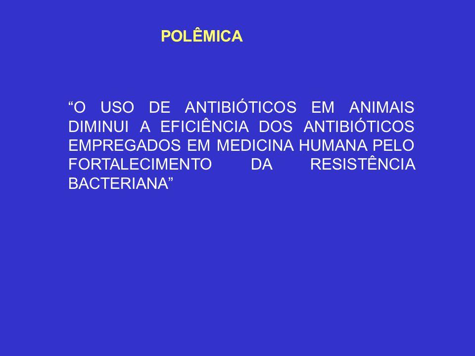 POLÊMICA O USO DE ANTIBIÓTICOS EM ANIMAIS DIMINUI A EFICIÊNCIA DOS ANTIBIÓTICOS EMPREGADOS EM MEDICINA HUMANA PELO FORTALECIMENTO DA RESISTÊNCIA BACTE
