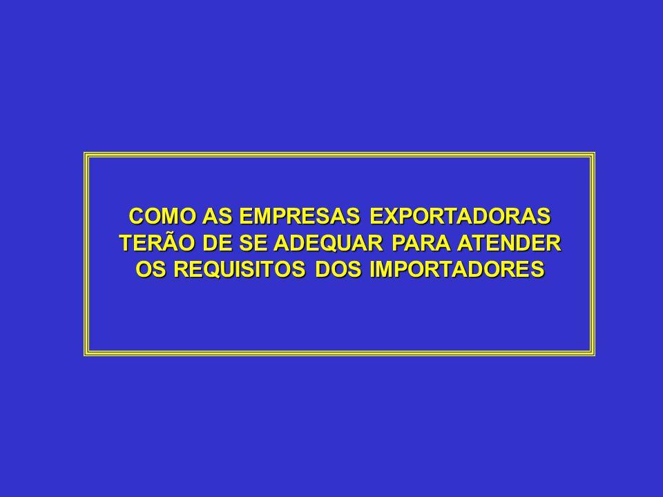 COMO AS EMPRESAS EXPORTADORAS TERÃO DE SE ADEQUAR PARA ATENDER OS REQUISITOS DOS IMPORTADORES