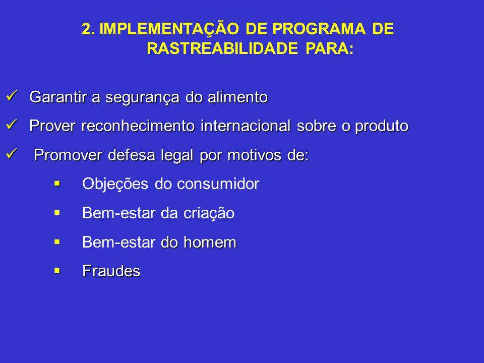 2. IMPLEMENTAÇÃO DE PROGRAMA DE RASTREABILIDADE PARA: Garantir a segurança do alimento Garantir a segurança do alimento Prover reconhecimento internac