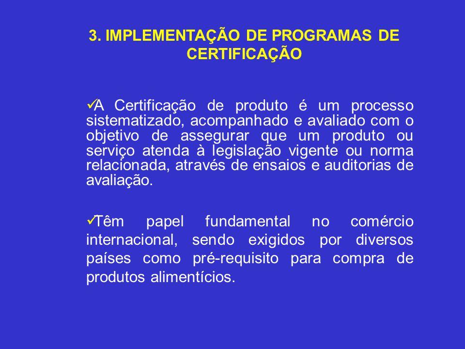 3. IMPLEMENTAÇÃO DE PROGRAMAS DE CERTIFICAÇÃO A Certificação de produto é um processo sistematizado, acompanhado e avaliado com o objetivo de assegura