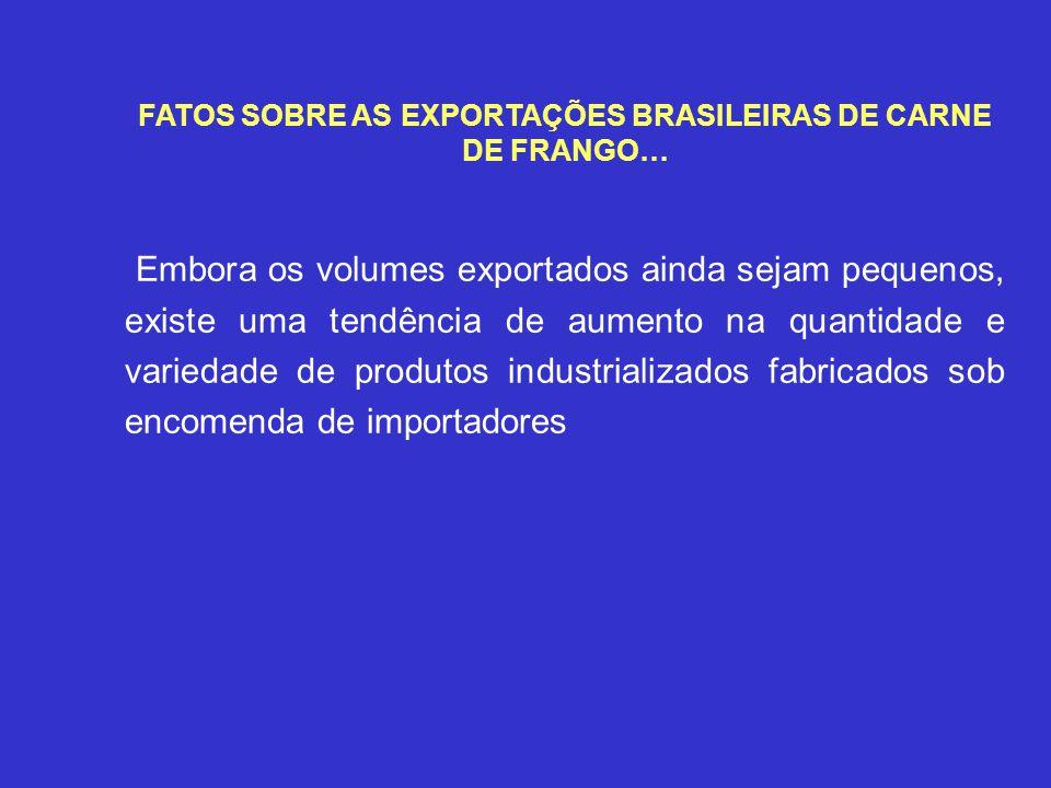 FATOS SOBRE AS EXPORTAÇÕES BRASILEIRAS DE CARNE DE FRANGO… Embora os volumes exportados ainda sejam pequenos, existe uma tendência de aumento na quant