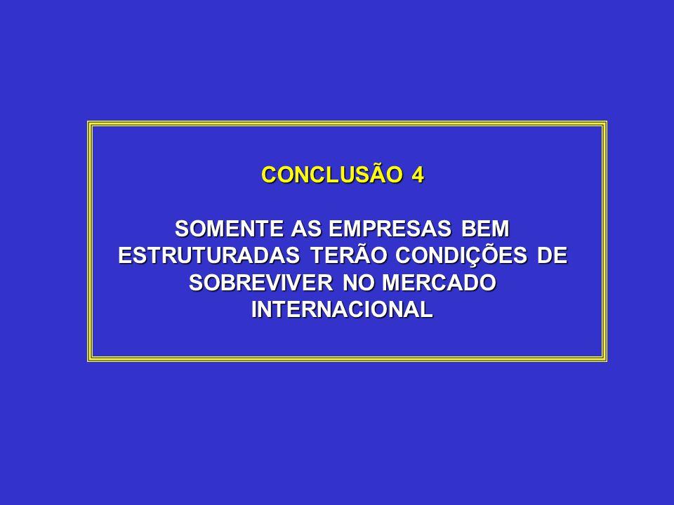 CONCLUSÃO 4 SOMENTE AS EMPRESAS BEM ESTRUTURADAS TERÃO CONDIÇÕES DE SOBREVIVER NO MERCADO INTERNACIONAL