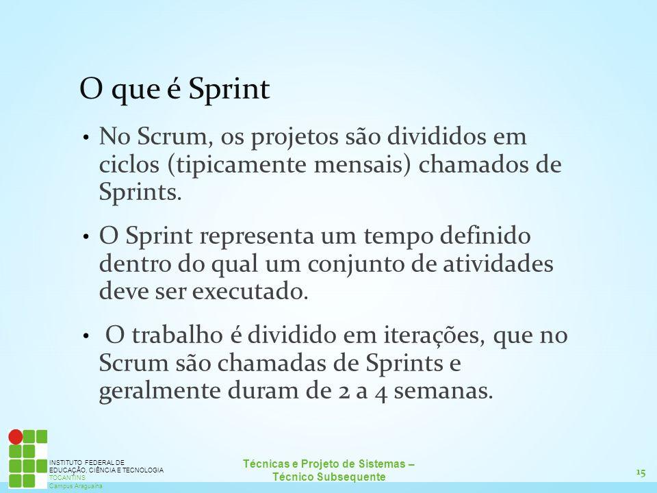 15 Técnicas e Projeto de Sistemas – Técnico Subsequente INSTITUTO FEDERAL DE EDUCAÇÃO, CIÊNCIA E TECNOLOGIA TOCANTINS Campus Araguaína O que é Sprint