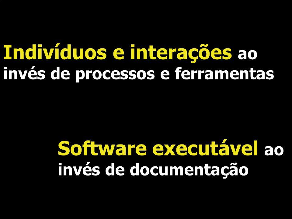 Indivíduos e interações ao invés de processos e ferramentas Software executável ao invés de documentação.