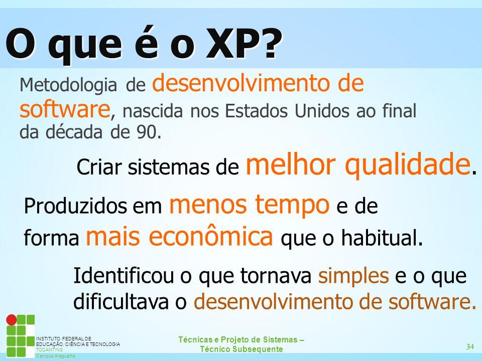 34 Técnicas e Projeto de Sistemas – Técnico Subsequente INSTITUTO FEDERAL DE EDUCAÇÃO, CIÊNCIA E TECNOLOGIA TOCANTINS Campus Araguaína O que é o XP? M
