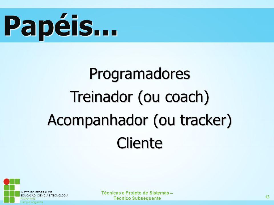 43 Técnicas e Projeto de Sistemas – Técnico Subsequente INSTITUTO FEDERAL DE EDUCAÇÃO, CIÊNCIA E TECNOLOGIA TOCANTINS Campus Araguaína Programadores T